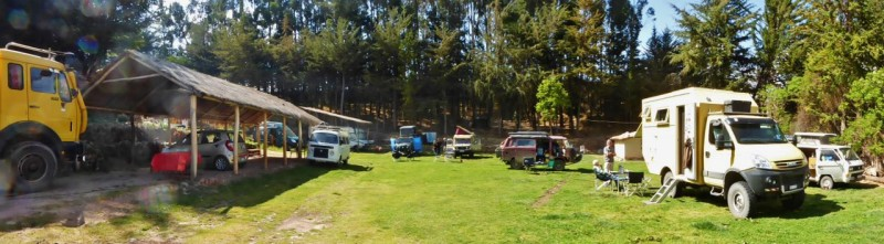 "The Quinta LaLa Overland campground just outside Cusco where we stayed two nights.  I'm still not sure I like staying in these Overlander ""coagulation"" points.  It seems most of the people we run into at these places are going from one guidebook recommended campground to the next, mostly hanging with others from their same country and even traveling together from one recommended safe haven to the next.  Then there are all the mixed horror stories they share of places to come and what to expect/not expect.  I think I prefer what Kat and I have been doing, driving blind with no guide books at all, staying wherever the end of the day finds us and mostly just conversing with locals."