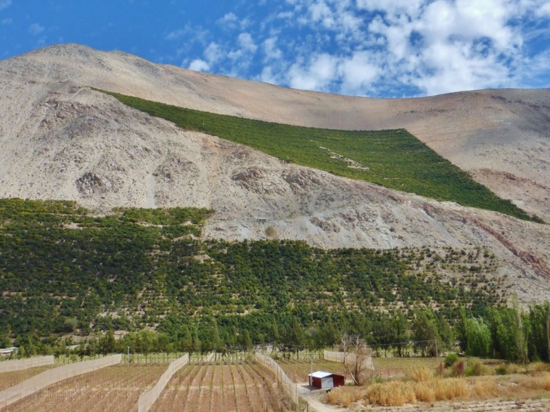 The Valle de Elqui runs east/west, inland from the city of La Serena