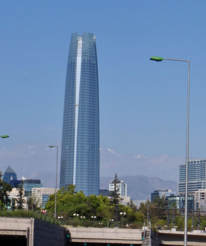 The tallest building in South America.  You can even almost see the snow capped Andes through the haze.