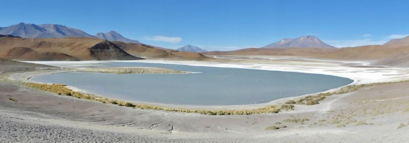 Dozens of scenic, salt encrusted lakes/lagoons dot the otherwise desolate landscape.
