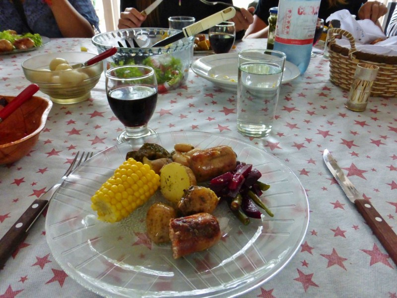 The table was laid with copious amounts of salads, vegetables, potatoes, and the most incredible grilled meats we'd ever tasted; filets, sausages, ribs, pork bellies; it all kept coming in mouth watering excess, as did the wine!  By the time we were finished, we were beyond stuffed and not just a little looped.  We staggered off to our cute little room for a nice siesta.