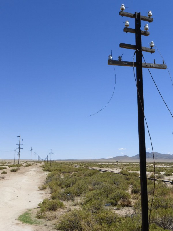 For miles along Ruta 9 we ran parallel to an abandoned railroad track and an old telegraph line.  All the poles, made from steel rail tracks placed vertically, sported perfect glass isolators; the kind I know people back home love to collect but can't find in the American West anymore.