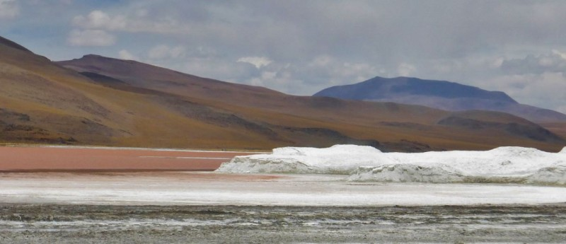 "Laguna Colorada is named for its red color which changes hues throughout the day.  We had pretty cloudy skies so while the colors were lacking, the ""icebergs"" made up of borax, salt and ice (!) were fascinating.  Although it was mid-summer and mid 70s temps during the day, it still dropped below freezing every night."