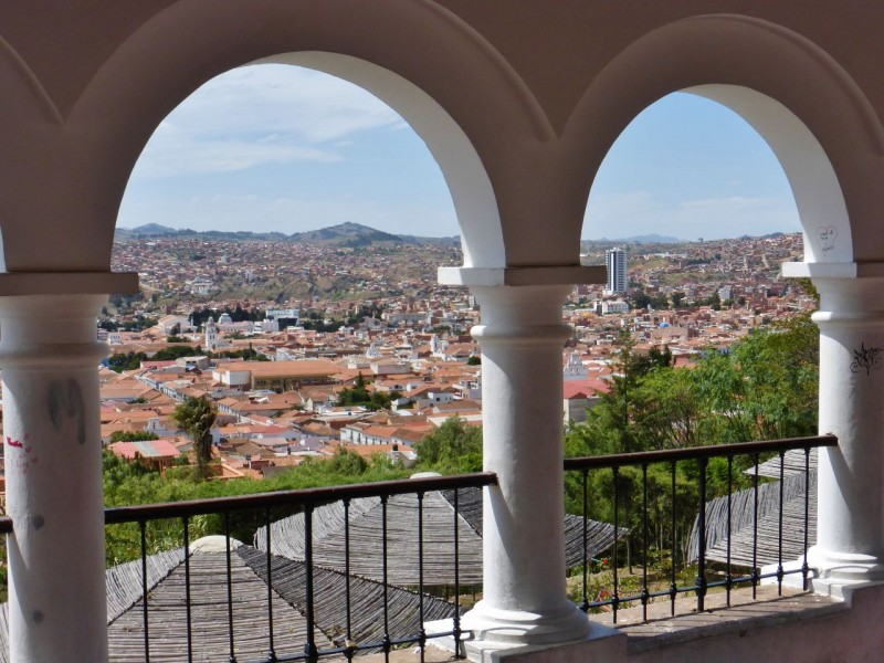 A view of the charming city of Sucre as seen from the mirador, the lookout point atop La Recoleta hill and the spot where the capital city was founded in 1538.