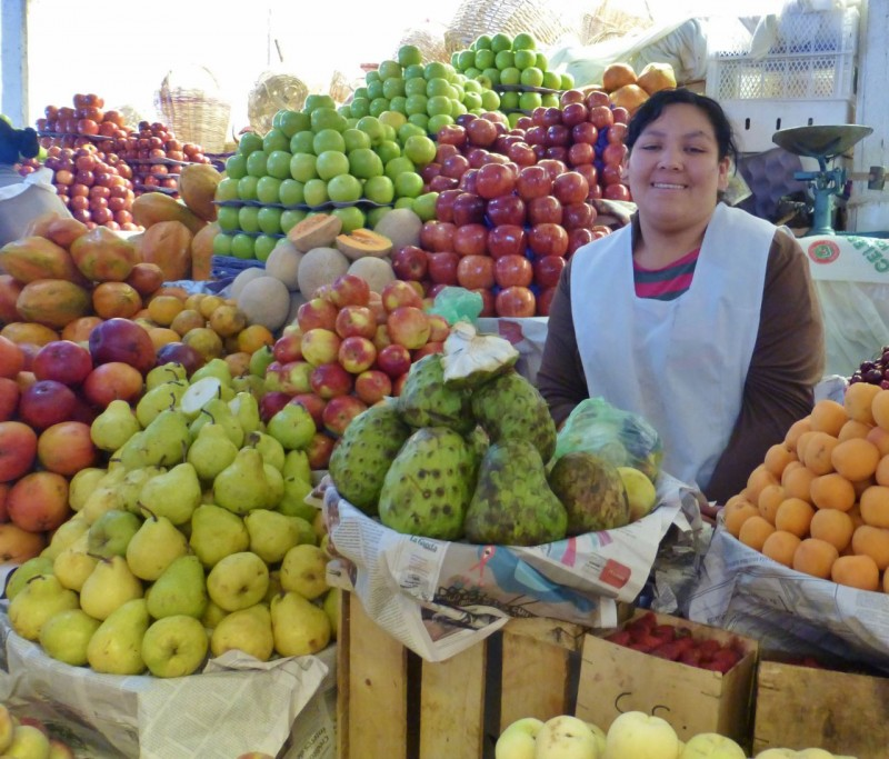 The main open air market was a cornucopia of beautiful fruits, veggies and beautiful, friendly Bolivians eager to serve us…
