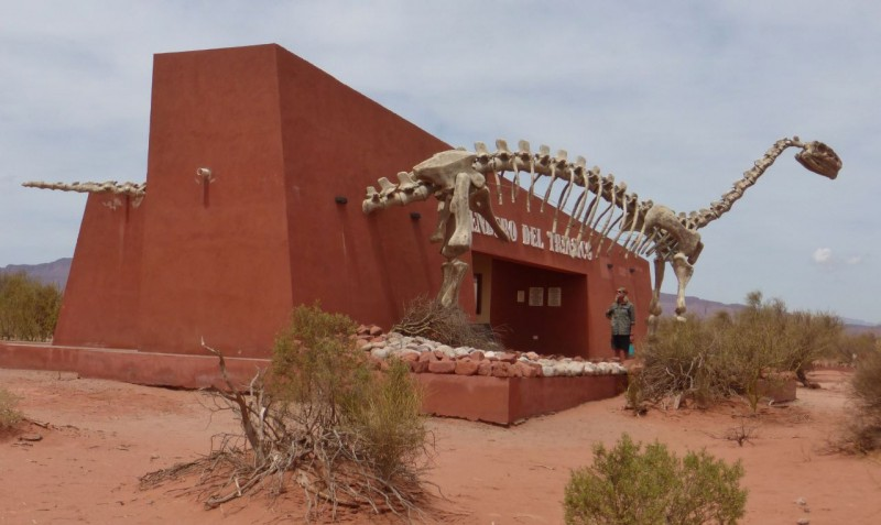 The park entrance was a remote outpost in the desert, but boasted a cool dinosaur display.  We enjoyed it while waiting for our tour.
