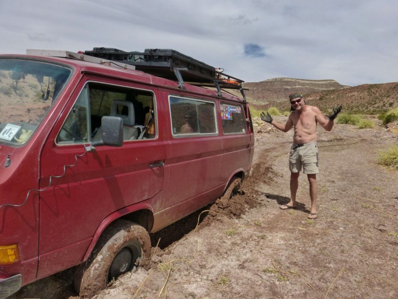"After carrying around a winch and a ground anchor for just over a year, 21,000 miles and lots of nasty dirt roads, we finally needed them!  Leaving our river bottom camp site I wasn't paying attention (fiddling with the stereo) and missed applying the VW Syncro four-wheeling creed of ""use momentum."""