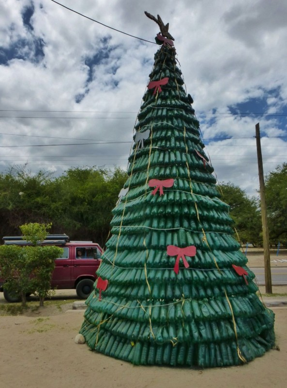 Ouside of Cafayate, we drove past this Christmas tree made up of… what??