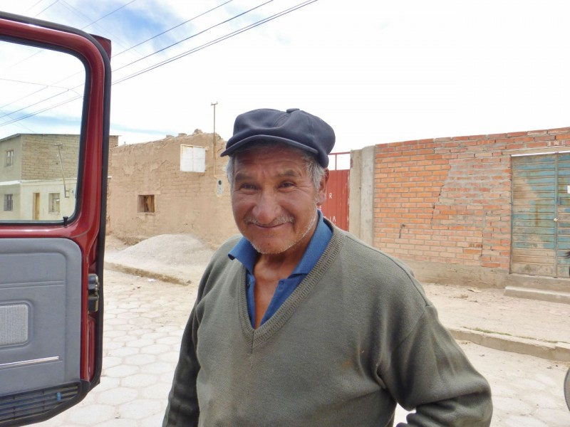 We picked up this grateful miner hitchhiking about ten miles out of town.  We hadn't seen another car heading our way all morning.  We never did get his name but gathered in local dialect Spanish that he had family in Uyuni and was excited to see them for Christmas.