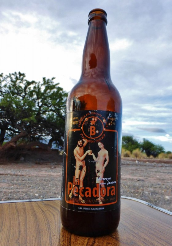 …accompanied by a great local beer… La Pecadora (The Sin!).  At 6% alcohol (strong for beer), it was still wimpy compared to the 11% one we still have in the fridge!