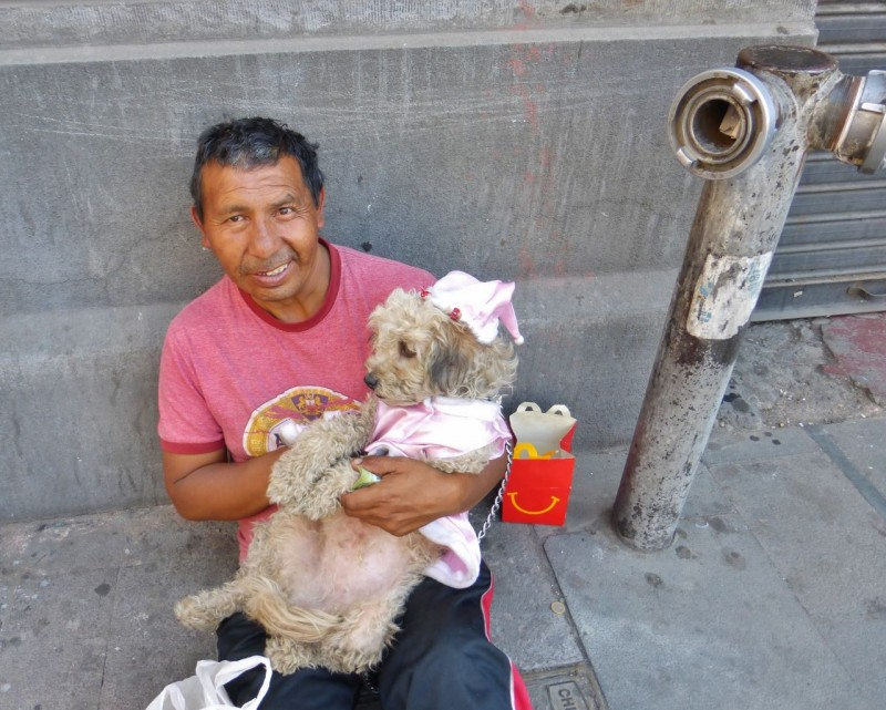 We walked passed this guy and his princess-clad pup and I had to get a shot.  He happily accepted a 10 Peso note (about $1.20) for the favor of taking his photo.  Note the McDonald's Happy Meal box.