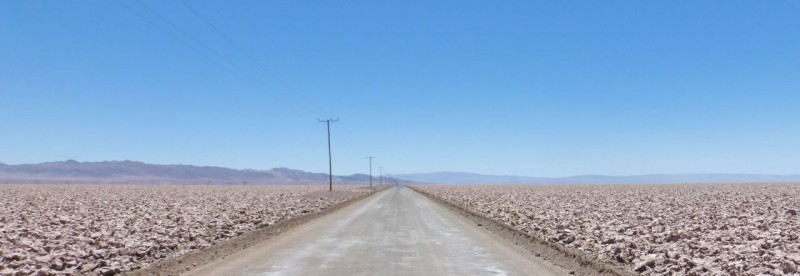 On the road and goin' south. The Salar de Atacama salt flats are a bit rougher than the Bolivian ones.
