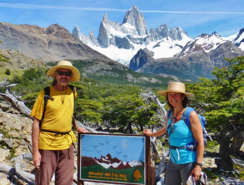 "Ned's cousin Charlie had told us, ""Fitz Roy is loved to death.""  That's an understatement.  We found ourselves on the trail with dozens of hip 20-something Bobby Backpackers.  We thought we were pretty cool too, until we saw this photo of Ma and Pa Kettle."