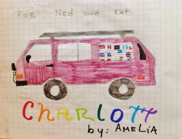 Amelia drew us this sweet portrait of Charlotte while we were watching the Dakar. It is so special to us! We plan to frame and hang it permanently in our rolling home.