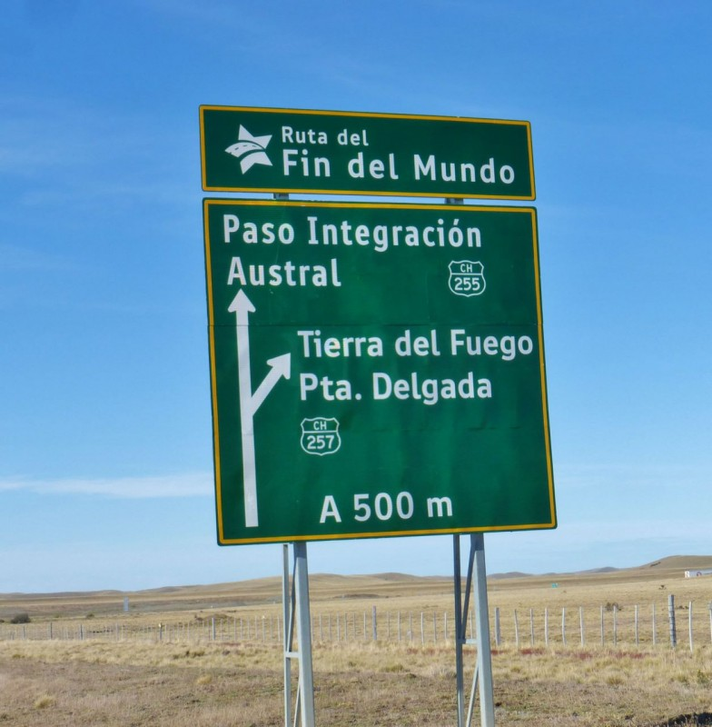 Getting closer!  We were on the Ruta Fin del Mundo…the Road to the End of the World!  This was also the first sign pointing to the island of Tierra del Fuego.