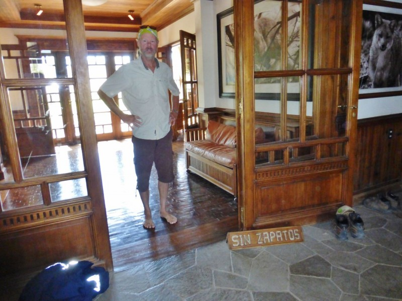 No shoes allowed in the entire lodge…a Doug Tompkins quirk, but never my favorite.