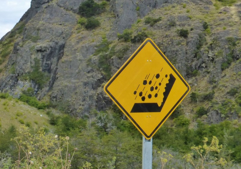 "We've seen these falling rock signs all over Chile and have dubbed them ""The Fast Rocks Sign."" Do rocks really fall faster in Chile?"