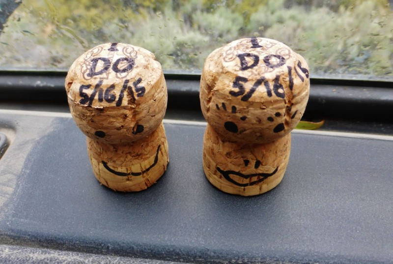 Another romantic gesture of Ned's:  Our Champagne corks glued to Charlotte's dashboard… I Do, I Do, 5/16/15.