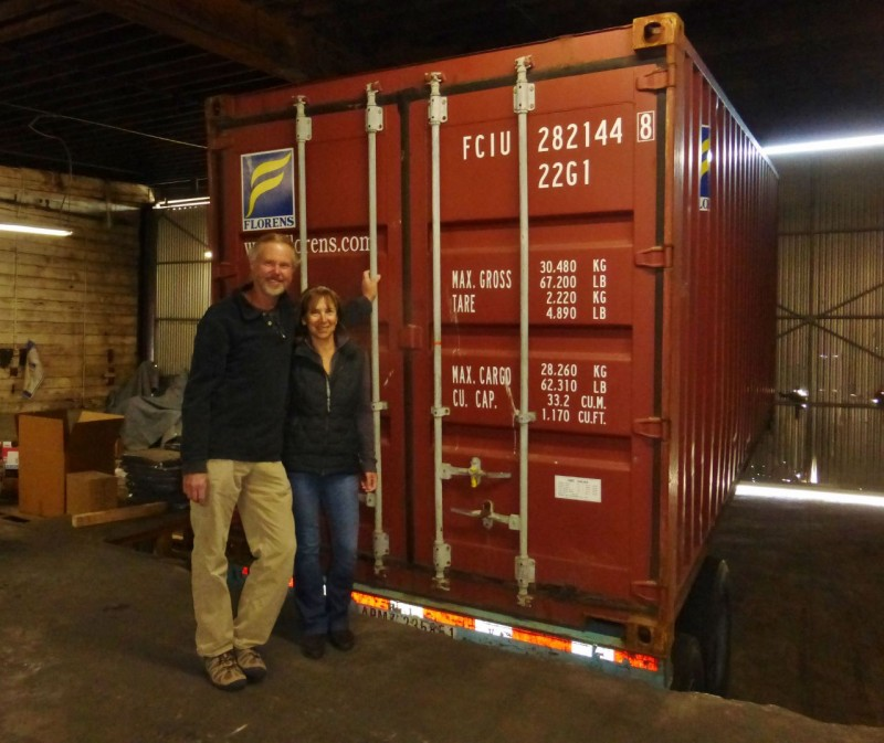 The big wait was finally over on April 7th when we were united with the red container in a warehouse in Long Beach, CA.