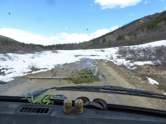 Then about 85 miles in we came to this avalanche that had buried the road.