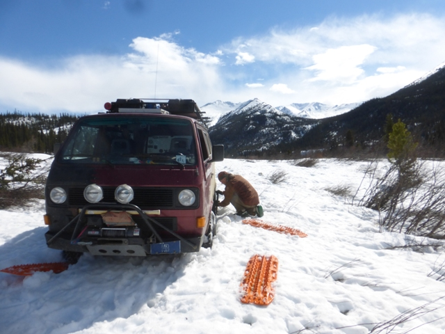 There was nothing to winch to and our Pull Pal winch anchor has proven iffy in snow, so down came the MAXTRAX for the third time this year (second time the same day!)