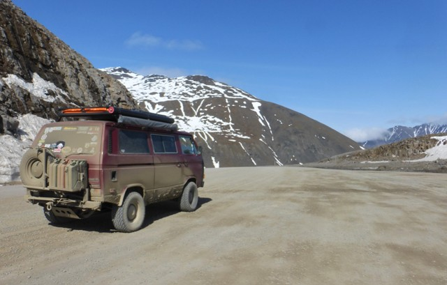 At the top of Atigun Pass while crossing the Brooks Range. It is the highest pass in Alaska at a whopping 4,800ft!