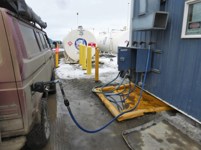 The gas station in Deadhorse was a 24 hour self serve affair. No one would want to stand around selling gas in this weather. The tanks were above ground as the whole place is built up on top of the tundra and frozen water that makes up the area of Prudhoe Bay.