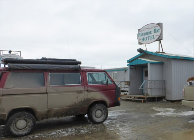 "We stayed in the parking lot of the Prudhoe Bay Hotel after eating in their cafeteria and yes, the food was just what you'd expect… The two ""hotels"" in town are really more like dormitories for transient oil field workers."