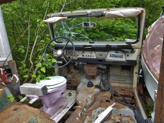 "…Especially the seating arrangement in this rotting Toyota Land Cruiser. Kinda gives a new meaning to the old Land Cruiser nickname ""Toylet!"""