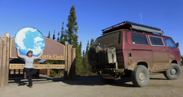 After 115 miles something happens! You reach the Arctic Circle. We spent the night here in the provided campground.