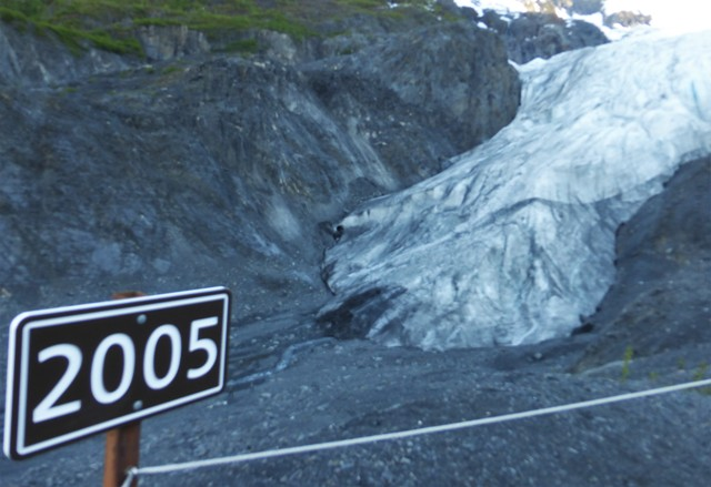 It was amazing to be doing a technical, rocky hike to a glacier at 9:30 at night, but it was a great way to work off dinner! The highlight of Exit Glacier is a graphically displayed view of how much the glaciers are receding. Beginning more than a mile below the glacier, year markers begin in the early 1900's. The sign in the photo shows where it was in 2005. The name comes from being the exit point of the Harding Ice Field which was trekked across by settlers to access the Kenai Peninsula.