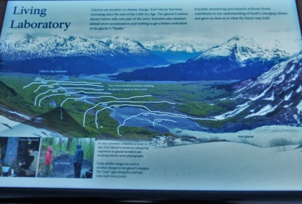 This sign showed an overview of how long the glacier had been in previous years. There was no judgment on the interpretive signs implicating whether the melting/global warming was naturally occurring or human caused.