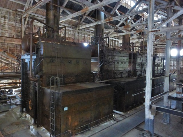 The mill's power plant could be run by coal, wood or oil.