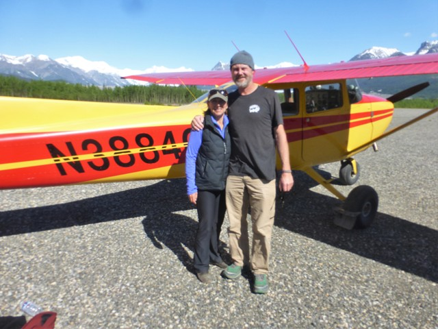After a nice pub dinner at the Golden Saloon in McCarthy, we spent a quiet night camping back on the other side of the footbridge. The next day we fulfilled our final, must-do Alaskan tourist adventure, we went flying!