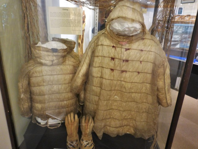 …but has one of the best museums we have visited.  From native artifacts to the oil spill, gold mining, earthquake and pipeline, this was a wonderful representation of all things Alaskan. Above are waterproof Alutilq parkas made of bear and sea mammal intestines.