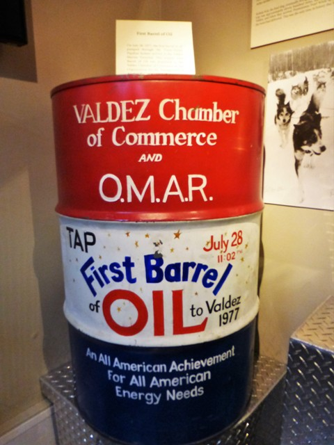 This was the very first barrel of oil to be transported 800 miles from the fields of Prudhoe Bay to Valdez in 1977; but not by pipeline…