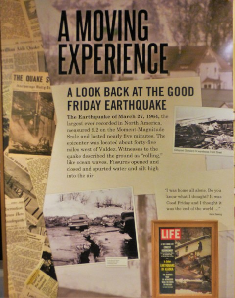 The story of the 1964 earthquake was a moving one.  30 people lost their lives in the 9.2 magnitude quake, and the entire town, having been built on loose soil close to shore was leveled, much of it buried in mud.  Valdez was rebuilt several miles southwest in a new, safer location. We had heard similar stories from all the towns we visited on the Kenai Peninsula.